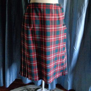 Vintage Tartan Plaid Kilt Pleated Wool Skirt 10